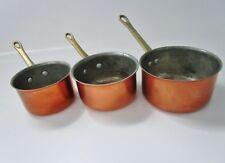 ancienne série de 3 petites casseroles gigognes en cuivre alimentaire-étamées