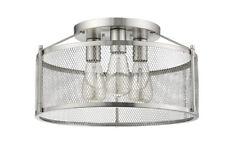 "Satin Nickel Semi-Flush 3 Lights No Glass 8.7"" H Industrial Screen Fixture New!"