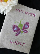 Wollfilz / Filz/ U-Heft Hülle/ Schutzhülle Untersuchungshefthülle Schmetterling