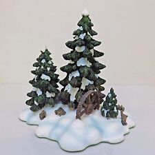 Dept 56 Holiday Village Porcelain Figure, WAGONWHEEL PINE GROVE, Used in Box