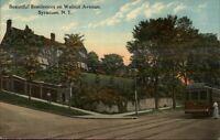 Syracuse NY Walnut Ave Residence & Trolley c1910 Postcard