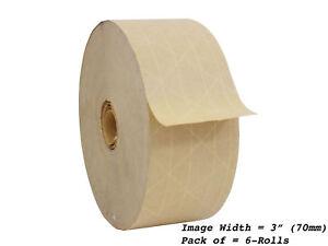 WOD WAT-WAE Water Activated Gummed Kraft Paper Tape: 2.75 in. x 500 ft. 6-ROLLS