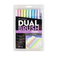 Tombow 56187 Dual Brush Pen Art Markers, Pastel, 10-Pack. Blendable, and Fine Ti