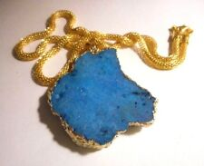 """Gold tone pendant made of Titanium/Druzy/Agate stone on 18"""" chain necklace"""