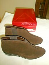 Aerosoles Womens BROWN  Suede Boots - FRONT ZIP - Size 12W