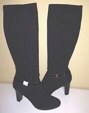 Ralph Lauren Malida II Stretch Fabric Patent Knee High Slouch Black Boots 10