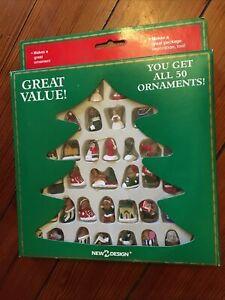 Vtg Christmas Ornament Set 50 New Design Mini Trims Decorations Complete Set