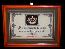 EXCELLENT WIFE IS THE CROWN OF HER HUSBAND-Bible Scripture Plaques,Wedding,Gifts