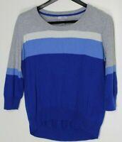 JCP Women's Long-Sleeve Cashmere Blend Sweater Gray Blue White Stripes Size XL