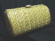 Vintage Walborg Japan Brass Gold Rhinestones Clutch Purse Hardcase Chain