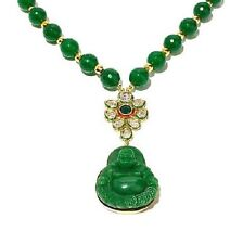 FERN FINDS GOLD TONE GREEN MULTI BEAD JADE BUDDHA PENDANT NECKLACE 20""