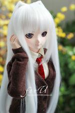 """1/3 8-9-10"""" BJD muñecas Pullip peluca de pelo largo blanco puro estilo de dibujos animados de la parte superior de la cabeza"""