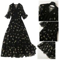 Fashion Summer Womens V-Neck Floral Print Long Lace A-Line Chiffon Casual Dress