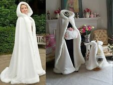 Stock Ivory Faux Fur Satin Bridal Hooded Cloak Outdoor Wedding Wrap Winter Shaw
