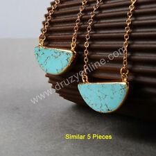 Clearance RANDOM 1 Pcs Gold Plated Blue Turquoise Half Moon Necklace TG0382-N