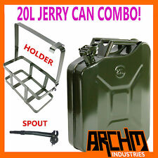 20L LITRE ARMY GREEN STEEL JERRY CAN & HOLDER COMBO - FUEL / PETROL / TRAILER