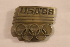 1988 Olympics Brass Metal Belt Buckle Team USA Mens Vintage Rings Seoul Korea 88