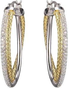 Charles Garnier Gold Plated Sterling Silver 2mm Mesh & CZ Hoop Earrings