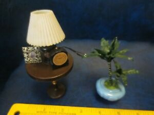 Vintage Miniature Dollhouse Wired Table Lamp W/ Clock, Portrait and Houseplant