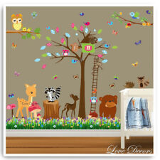Animal Owl Wall Stickers Jungle Monkey Nursery Baby Kids Room Decals Art Mural