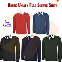 New Gents Long Sleeve Plain Classic Fit Rugby Shirt Unisex Casual Sports TOP