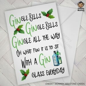 Funny CHRISTMAS CARD male female xmas GIN wife husband friend mate offensive