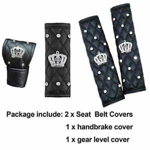 Bling Shiny Crown Black Seat Belt & Shift Knob & Handbrake Protector Cover Set