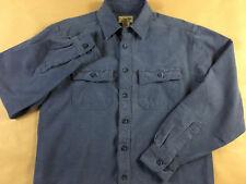 LL BEAN Mens S Chamois Flannel Blue Button Front Long sleeve Shirt Tag S reg
