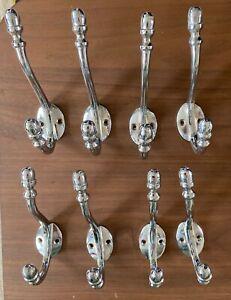 Silver coloured Coat hooks, double arm, set of 8