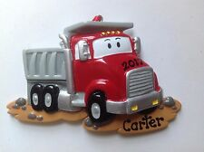 Red Dump Truck Personalized Christmas Ornament- Baby Boy's 1st Christmas