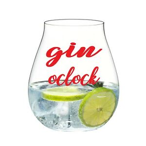 GIN O'CLOCK VINYL STICKERS FOR GIN GLASS X 6 (RED)