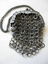 Antique Victorian French Doll Child Coin Chatelaine Chain Mail Mesh Purse #39