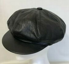 Vintage Mens Pelle Black Leather Lambskin Newsboy Driver Hat Cap Size Medium M