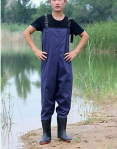 Mens Rain Boots Waterproof Catch Fish Pants Pull On Wear-Resistant Boots Shoes