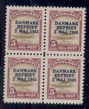Greenland #20, 5ore Ovpt, Block of 4, og, 2Nh/2Lh, Vf, Facit $385.00
