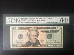 FANCY 3 DIGIT SN# PMG GEM64EPQ 2004 $20 DALLAS FRN