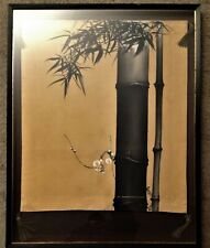 Antique Handpainted Silk Embroidery Japanese Fine Art Scroll Screen Bamboo Ink