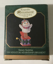 Hallmark Keepsake Miniature Ornament Collector's Club Snowy Surprise Dated 1999