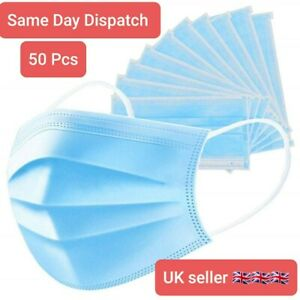 50 Disposable Face Mask Surgical 3 Ply Mouth Guard Cover Face Masks Protection