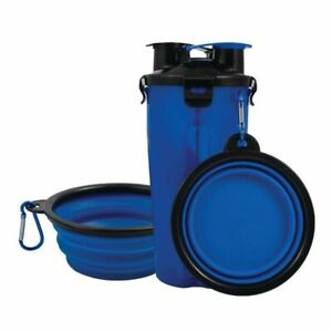 Pet Food Water Bottle 2-in-1 Portable with 2 Collapsible Bowls Dog Travel Blue