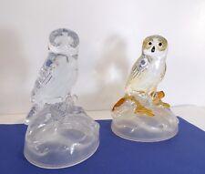 2 beaux Hiboux Chouettes en semi cristal,15 cm,
