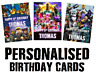 Personalised Roblox Fortnite Unicorn Birthday Card Any Age + Name Relation Cards