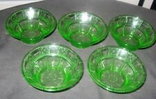 Green Depression Glass Berry Bowls-Doric ( 5 pcs )