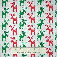Fabric Traditions - Christmas Red & Green Reindeer on White - Cotton YARD
