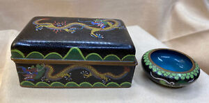 Antique Chinese Cloisonné Lidded Box and Matching Bowl with Dragon Designs