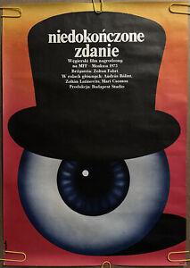Original Vintage Poster niedokonczone zdanie polish poster eyeball top hat 1970s