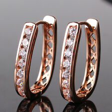 white topaz lady wedding hoop earring Fantastic 18k rose gold filled round cut