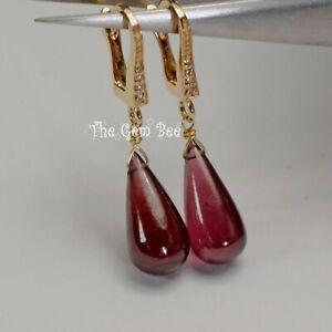 14K Solid Yellow Gold Diamond Rhodolite garnet Teardrop Briolette Earrings