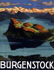 "Vintage Illustrated Travel Poster CANVAS PRINT Burgenstock Switzerland 24""X18"""