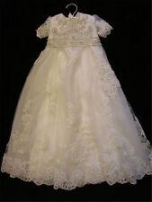 Newborn Vintage Infant Baptism Dresses Soft Lace Baby Ivory Christening Gown